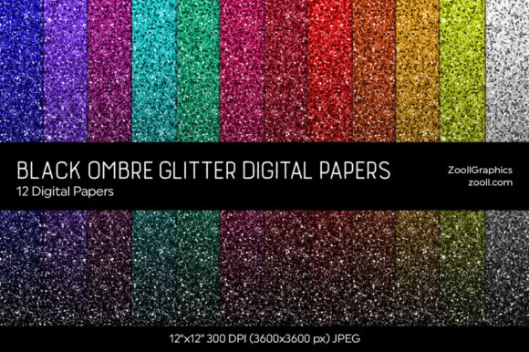 Black Ombre Glitter Digital Papers Graphic Textures By ZoollGraphics