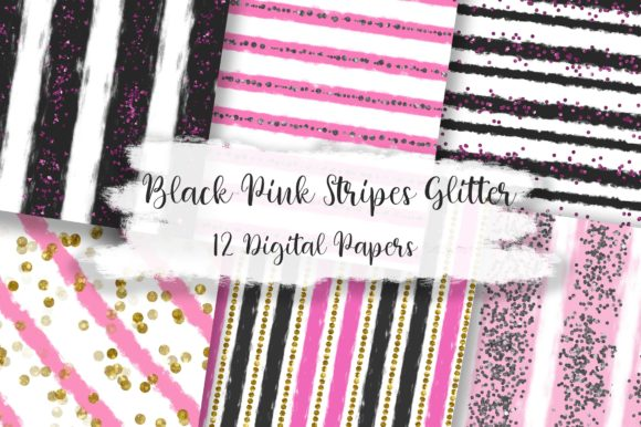 Black Pink Stripes Glitter Digital Paper Graphic Backgrounds By PinkPearly