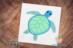 Blue Colored Bold Turtle Applique Reptiles Embroidery Design By embroiderydesigns101