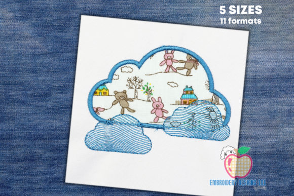 Blue Colored Bright Clouds Cities & Villages Embroidery Design By embroiderydesigns101