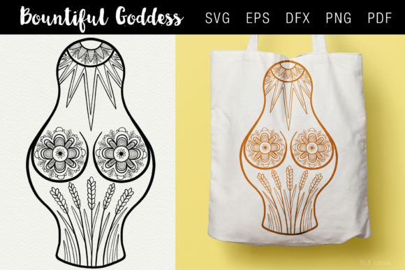 Print on Demand: Bountiful Goddess Illustration SVG EPS Graphic Illustrations By SLS Lines