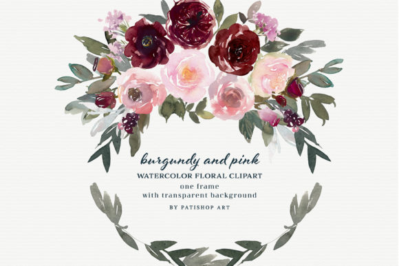 Burgundy and Pink Watercolor Clipart Graphic Illustrations By Patishop Art