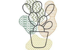 Cactus Line Art Single Flowers & Plants Embroidery Design By carasembor