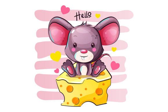 Cartoon Mouse is Sitting on a Cheese Graphic Illustrations By rorozoagraphic