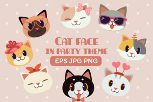 Cat Face in Party Theme Clipart Graphic Illustrations By Guppic the duck