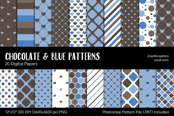 Chocolate and Blue Digital Papers Graphic Patterns By ZoollGraphics