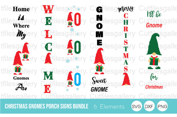 Christmas Gnomes Porch Signs Bundle SVG Graphic Crafts By cutfilesgallery