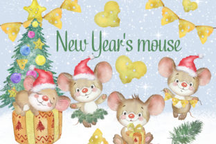Christmas Mouse Watercolor Clipart Graphic Illustrations By EvArtPrint