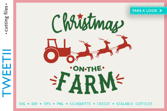 Print on Demand: Christmas on the Farm Tractor Sleigh Graphic Crafts By Tweetii