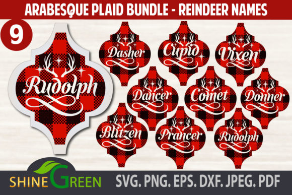 Print on Demand: Christmas Ornament Bundle Reindeer Plaid Gráfico Crafts Por ShineGreenArt