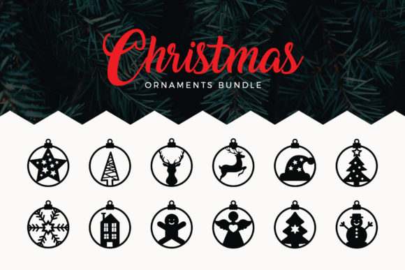 Print on Demand: Christmas Ornaments Cut Files Gráfico Crafts Por DTCreativeLab