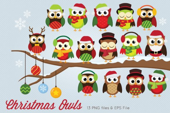Christmas Owls Clipart Vector Graphic Illustrations By peachycottoncandy