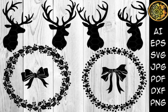 Print on Demand: Christmas Reindeer - Wreath Clipart Graphic Illustrations By V-Design Creator