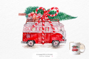 Print on Demand: Christmas Retro-style Van PNG Graphic Crafts By Chonnieartwork