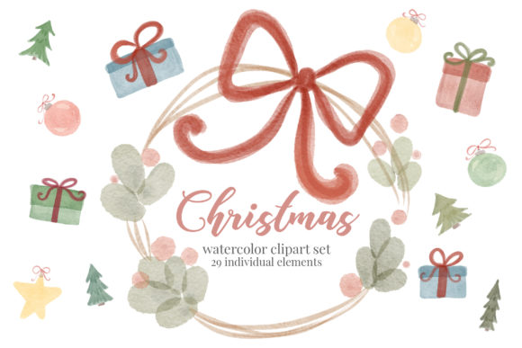 Print on Demand: Christmas Watercolor Joy Clipart Set Graphic Illustrations By Craft Point Art
