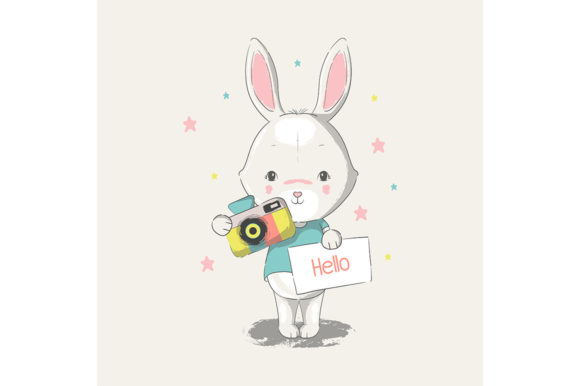 Cute Baby Bunny with Camera Graphic Illustrations By rorozoagraphic