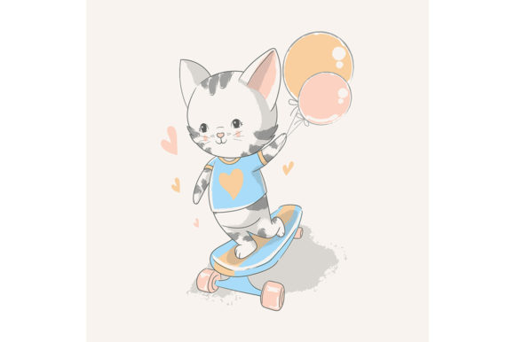 Cute Baby Kitten with a Skateboard Graphic Illustrations By rorozoagraphic