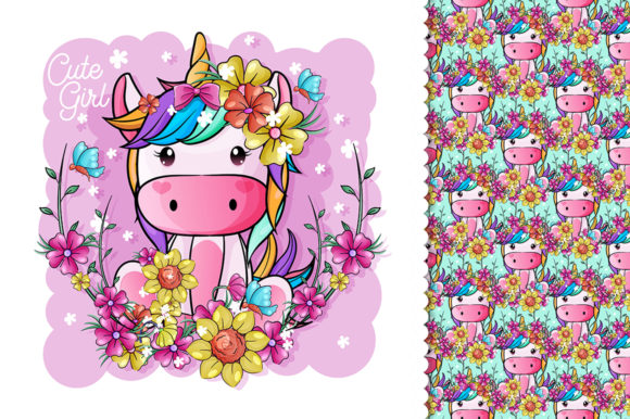 Cute Baby Unicorn with Flowers for Kids Graphic Illustrations By rorozoagraphic