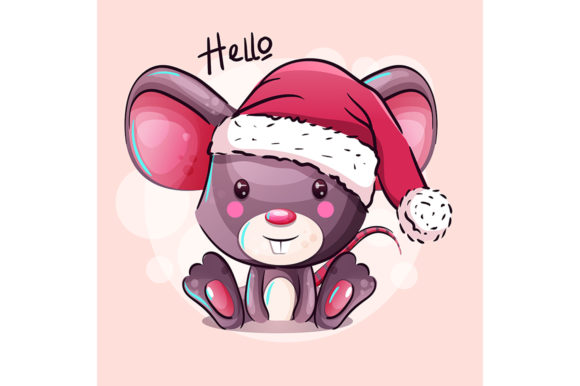 Cute Cartoon Baby Mouse in Santa Hat Graphic Illustrations By rorozoagraphic