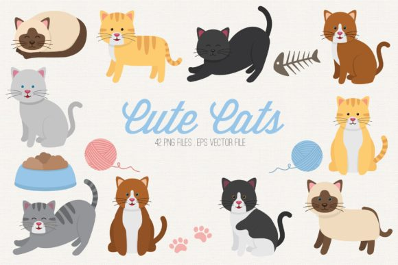 Cute Cats Clipart Vector Graphic Illustrations By peachycottoncandy