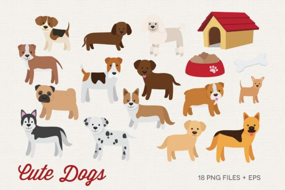 Cute Dogs Clipart Vector Graphic Illustrations By peachycottoncandy