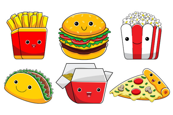 Cute Fast Food Characters Graphic Illustrations By medzcreative