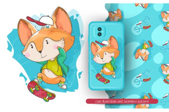 Cute Fox Playing a Skateboard Graphic Illustrations By rorozoagraphic