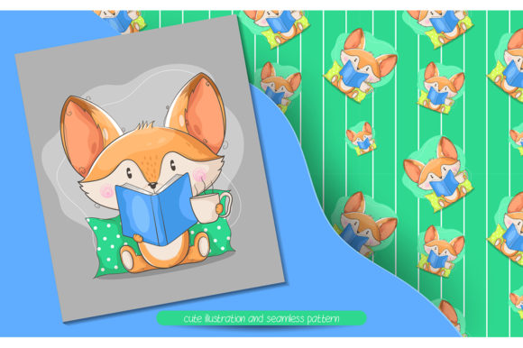 Cute Fox Read a Book Illustration Graphic Illustrations By rorozoagraphic