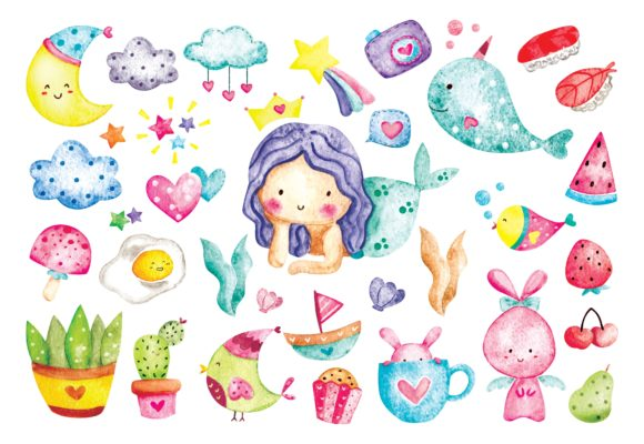Cute Things Doodles in Watercolor Vector Graphic Illustrations By Big Barn Doodles