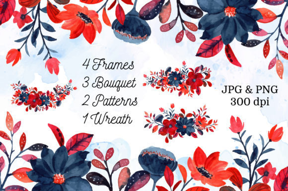 Print on Demand: Digital Clipart Floral Watercolor Part.4 Graphic Illustrations By asrulaqroni