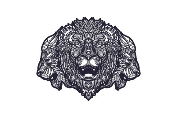 Doodle Zentangle 3 Lions Head Graphic Illustrations By rorozoagraphic