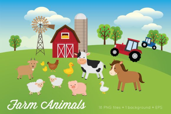 Farm Animals Clipart Vector Graphic Illustrations By peachycottoncandy