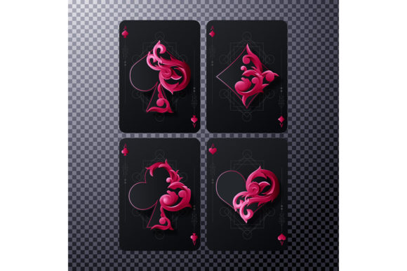 Four Ace Card with Red Ornament Graphic Illustrations By rorozoagraphic