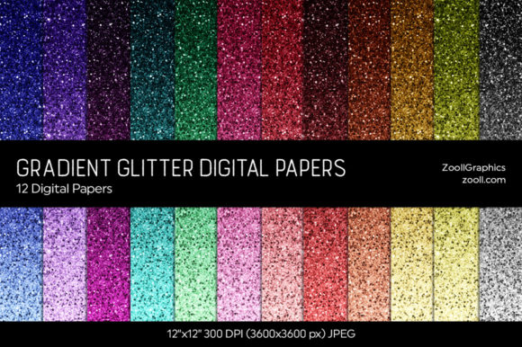 Gradient Glitter Digital Papers Graphic Textures By ZoollGraphics