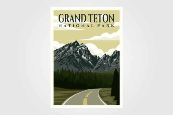 Grand Teton National Park Vintage Poster Graphic Graphic Templates By lawoel