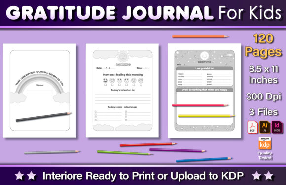 Gratitude Journal for Kids Graphic KDP Interiors By okdecoconcept
