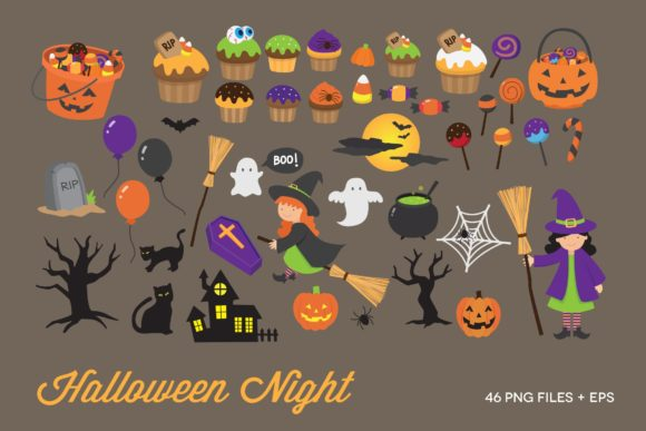 Halloween Night Clipart Vector Graphic Illustrations By peachycottoncandy