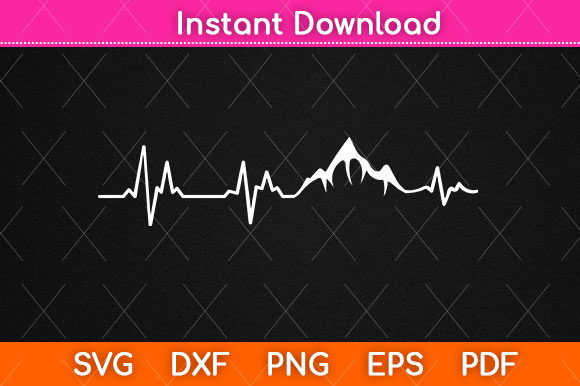 Print on Demand: Hiking Heartbeat Svg Png Dxf Cutting Graphic Crafts By Graphic School