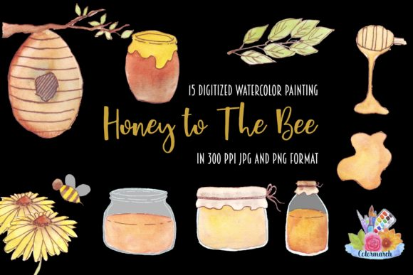 Honey to the Bee Hand Painted Clipart Graphic Illustrations By Colormarch