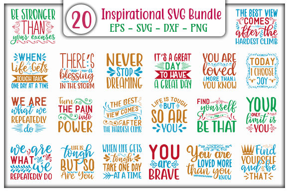 Print on Demand: Inspirational SVG Design Bundle Graphic Print Templates By GraphicsBooth