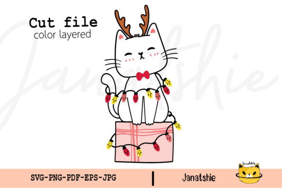 Kitten Cat with Christmas Light SVG Graphic Crafts By Janatshie