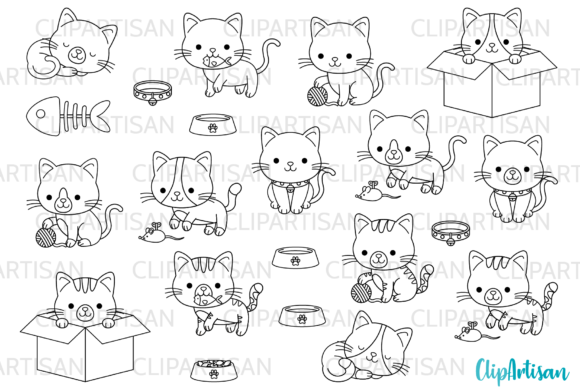 Kittens Clipart Kitty Cats Kitties Graphic Illustrations By ClipArtisan