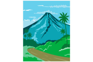 Print on Demand: Mayon Volcano Albay Philippines WPA Art Gráfico Ilustraciones Por patrimonio