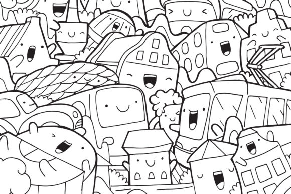 Munich Doodle Art Graphic Coloring Pages & Books By medzcreative