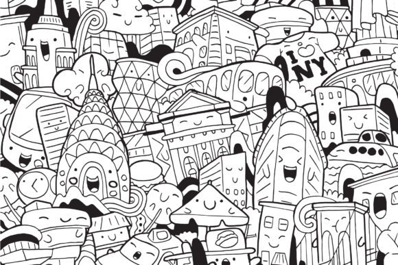 New York Doodle Art Graphic Coloring Pages & Books By medzcreative