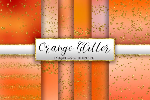 Orange Glitter Background Digital Papers Graphic Backgrounds By PinkPearly