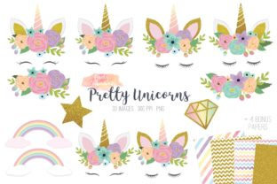 Pretty Unicorns Clipart Vector Graphic Illustrations By peachycottoncandy