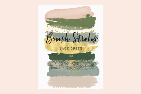 Sage Green. Gold Glitter. Brush Strokes Graphic Illustrations By LABFcreations