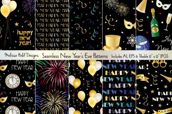 Seamless New Year's Eve Patterns Graphic Patterns By Melissa Held Designs