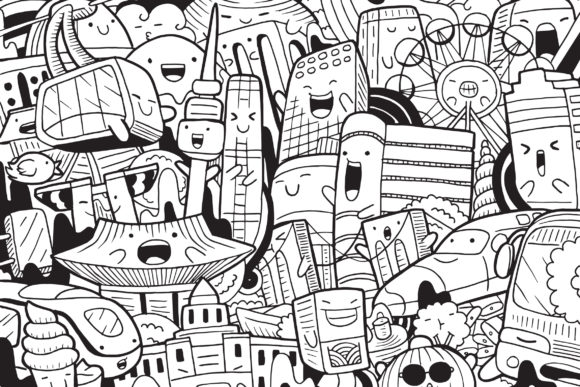 Seoul Doodle Art Graphic Coloring Pages & Books By medzcreative